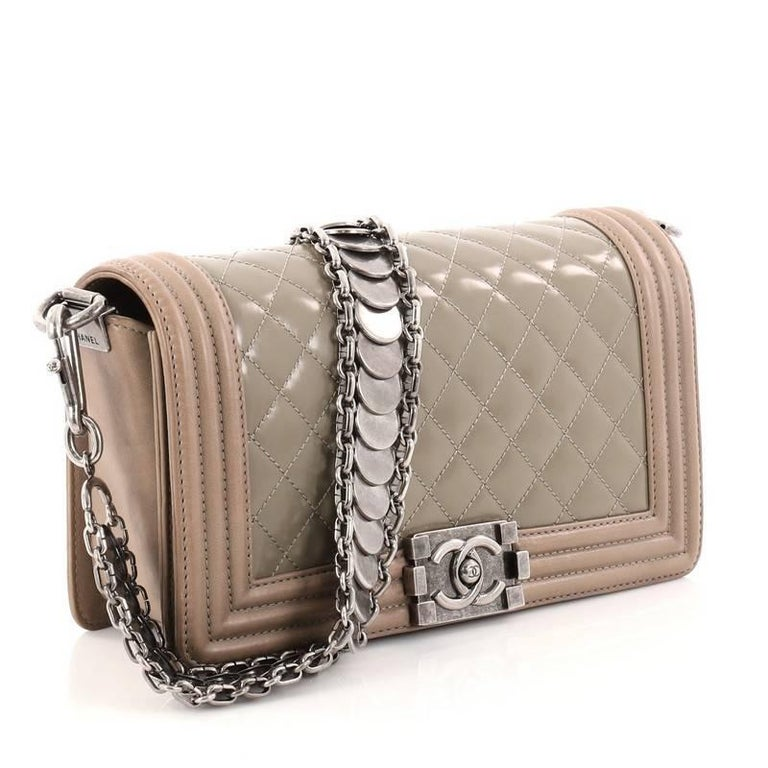 677890f4db73b7 Chanel Medallion Boy Flap Bag Quilted Glazed Calfskin with Leather Old  Medium In Good Condition For