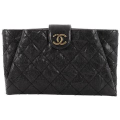 Chanel Coco Pleats Clutch Quilted Glazed Caviar