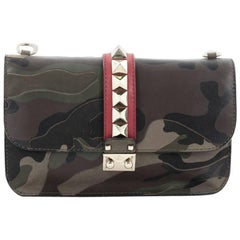 Valentino Glam Lock Shoulder Bag Camo Leather and Canvas Medium