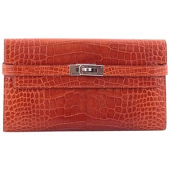 Hermes Kelly Shiny Long Alligator Wallet