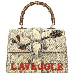 Gucci Dionysus Bamboo Top Handle Bag Embroidered Python Medium