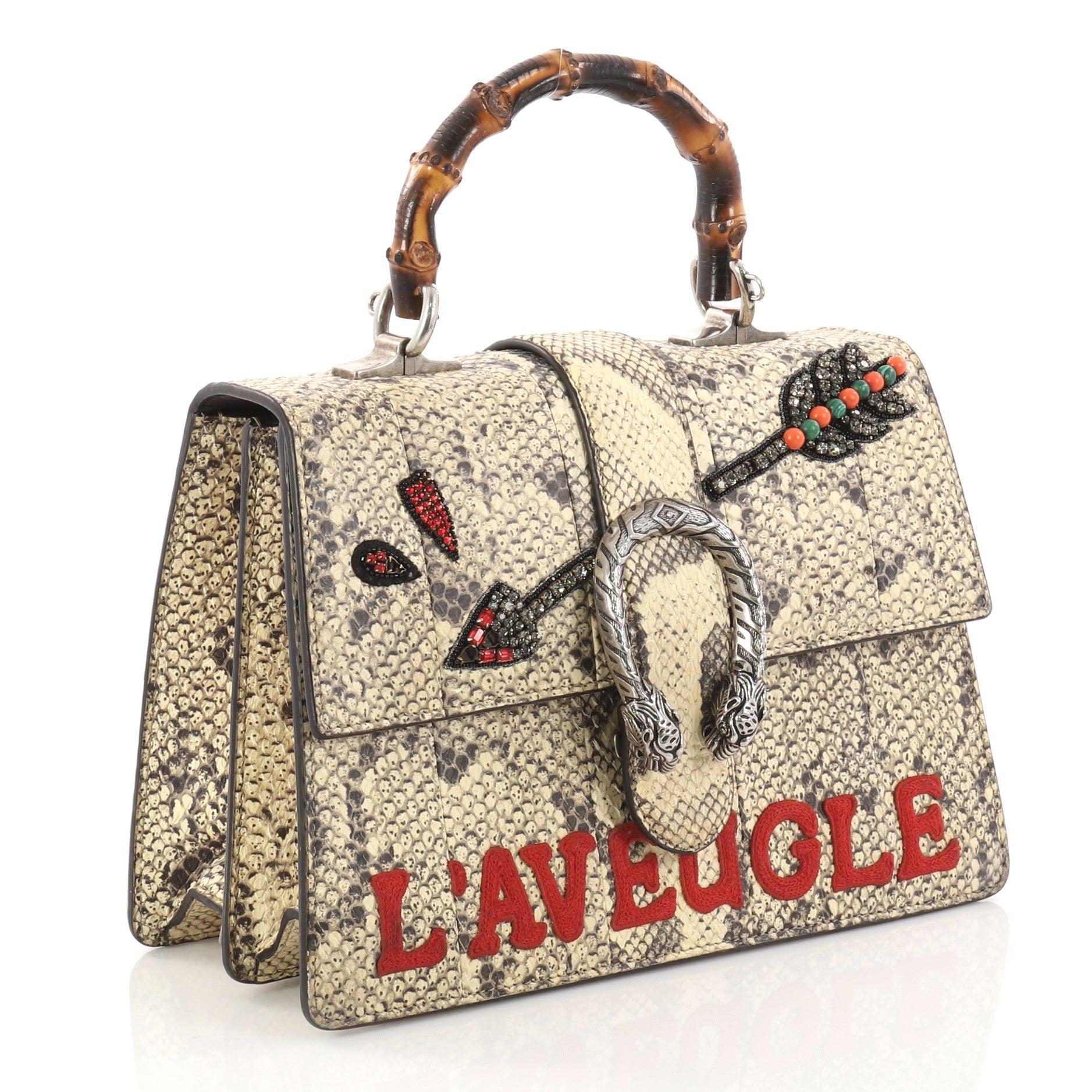 a54669a95 Gucci Dionysus Bamboo Top Handle Bag Embroidered Python Medium at 1stdibs