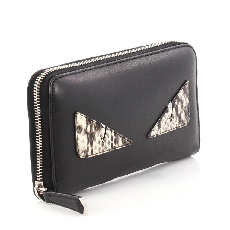 d61d7a68 Fendi Monster Zip Around Wallet Leather and Python Long