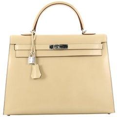 Hermes Kelly Handbag Parchment Box Nepal with Palladium Hardware 35