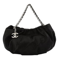Chanel CC Charm Shoulder Bag Quilted Satin Mini