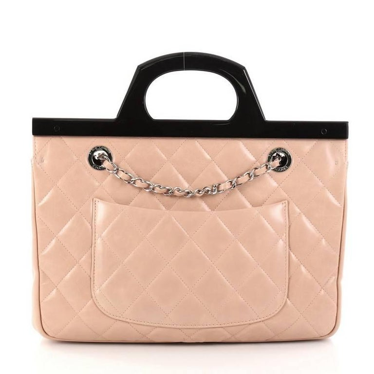 03915d1ce99904 Women's Chanel CC Delivery Tote Quilted Glazed Calfskin Small For Sale