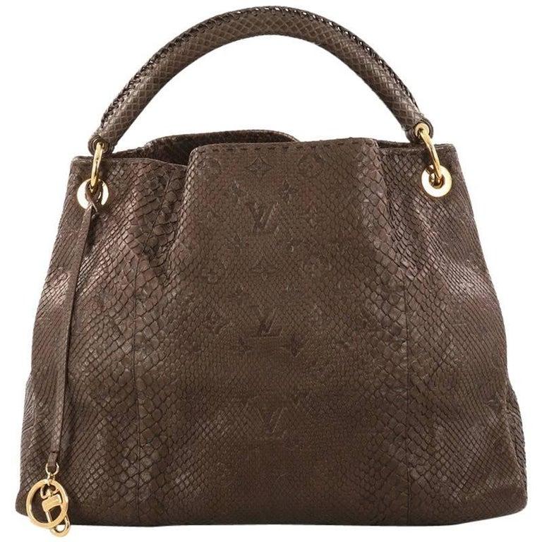 Louis Vuitton Artsy Handbag Monogram Embossed Python MM