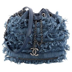 Chanel Drawstring Charm Bucket Bag Fringe Denim