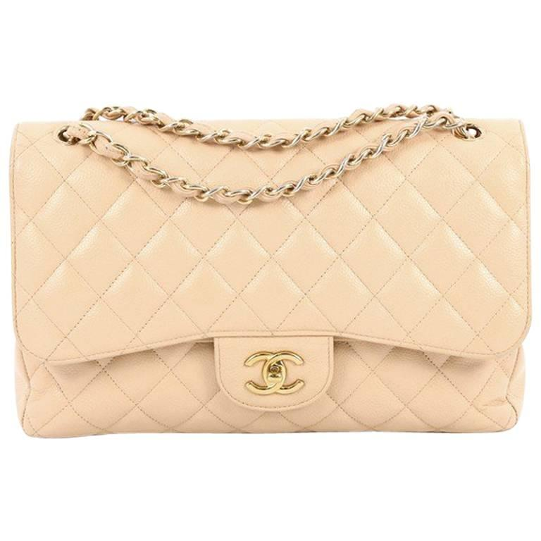 ed30905cc69045 Chanel Classic Double Flap Bag Quilted Caviar Jumbo at 1stdibs