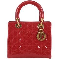 Christian Dior Lady Dior Handbag Cannage Quilt Patent Medium