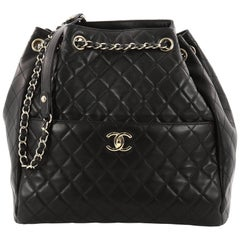 Chanel Drawstring CC Lock Bucket Bag Quilted Lambskin Medium