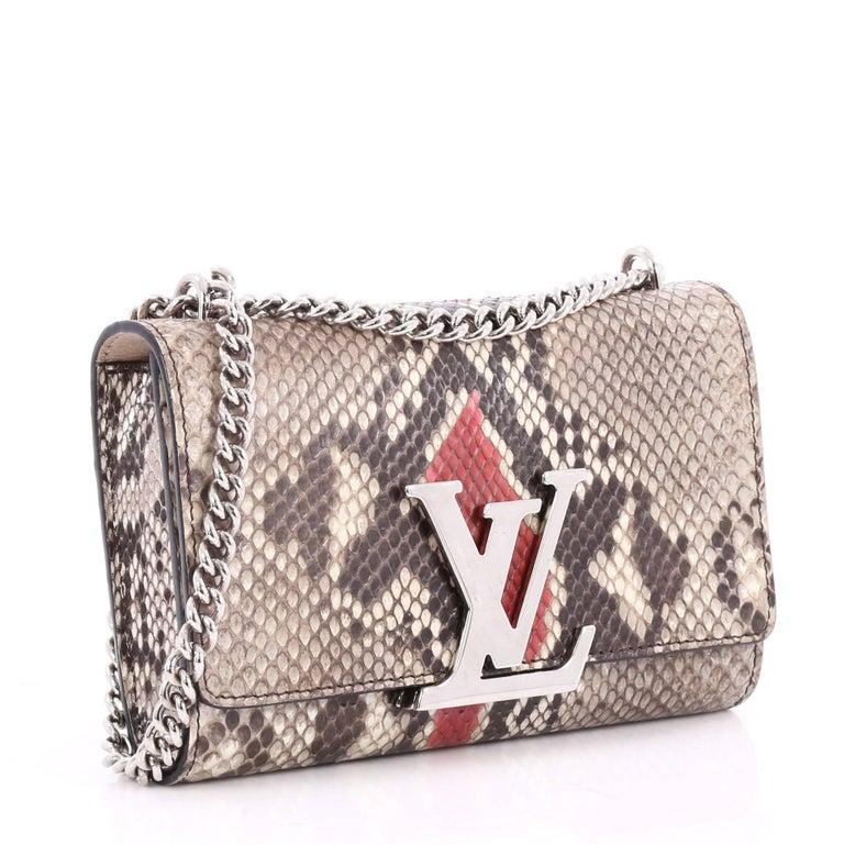 Brown Louis Vuitton Chain Louise Clutch Python GM For Sale eb38874d1f3