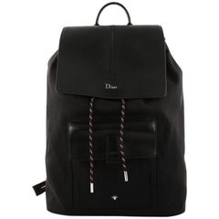 Christian Dior Drawstring Backpack Nylon and Leather