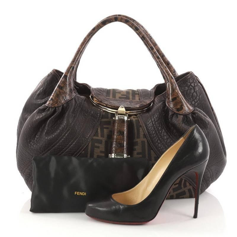 ... sale this authentic fendi tortoise spy bag zucca canvas and leather  showcase one of the brands aad5fba0d3435