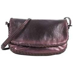 Bottega Veneta Flap Messenger Bag Iridescent Leather with Intrecciato Detail