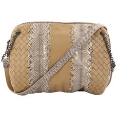 Bottega Veneta Chain Crossbody Bag Intrecciato Nappa and Snakeskin Small