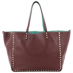 Valentino Rockstud Reversible Convertible Tote Leather Medium