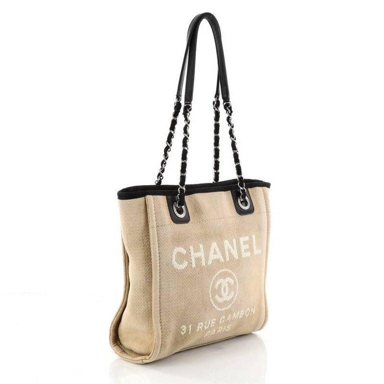 89f28eb125e Chanel Deauville Chain Tote Canvas Small