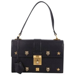 Gucci Cat Lock Shoulder Bag Leather Small