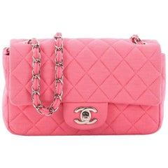 Chanel Classic Single Flap Bag Quilted Jersey Mini