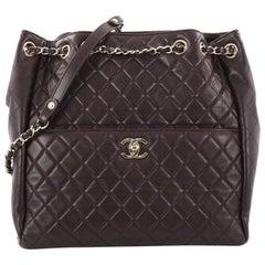 Chanel Drawstring CC Lock Quilted Lambskin Medium Bucket Bag