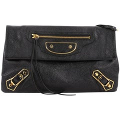 Balenciaga Envelope Strap Classic Studs Metallic Edge Clutch Leather