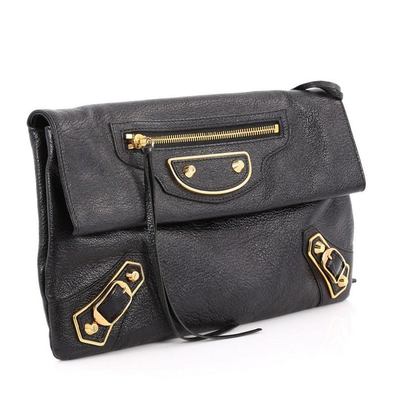 875e6f8267f9 Balenciaga Envelope Strap Classic Studs Metallic Edge Clutch Leather at  1stdibs