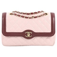 Chanel Two Tone Flap Bag Quilted Lambskin Medium