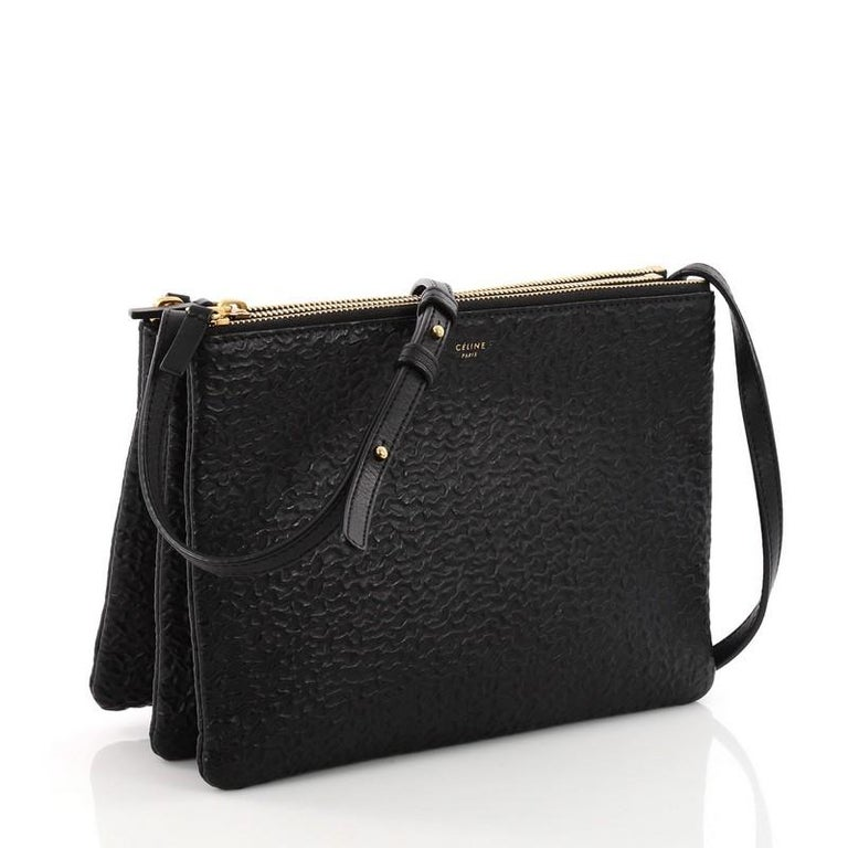 ddc5470f02 Celine Trio Crossbody Bag Astrakhan Stamped Calfskin Large at 1stdibs