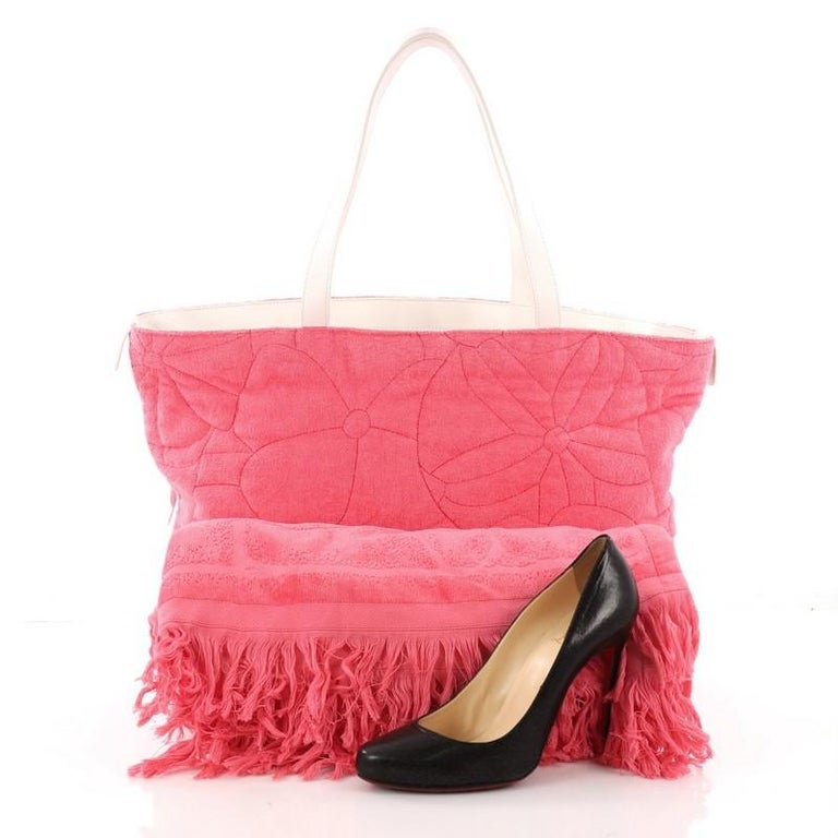 4efafb471983d6 Pink Chanel Beach Tote Camellia Terry Cloth Large For Sale