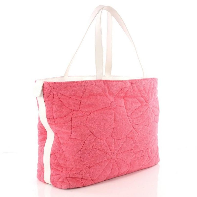 cae978b562410b Chanel Beach Tote Camellia Terry Cloth Large In Good Condition For Sale In  New York,