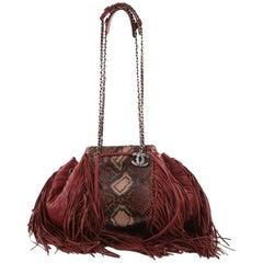Chanel Paris-Dallas Drawstring Fringe Shoulder Bag Python and Leather Large