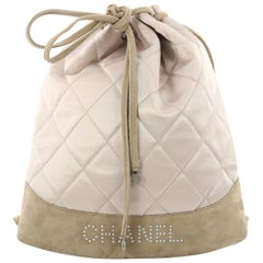 Chanel Vintage Drawstring Backpack Quilted Satin with Suede Medium