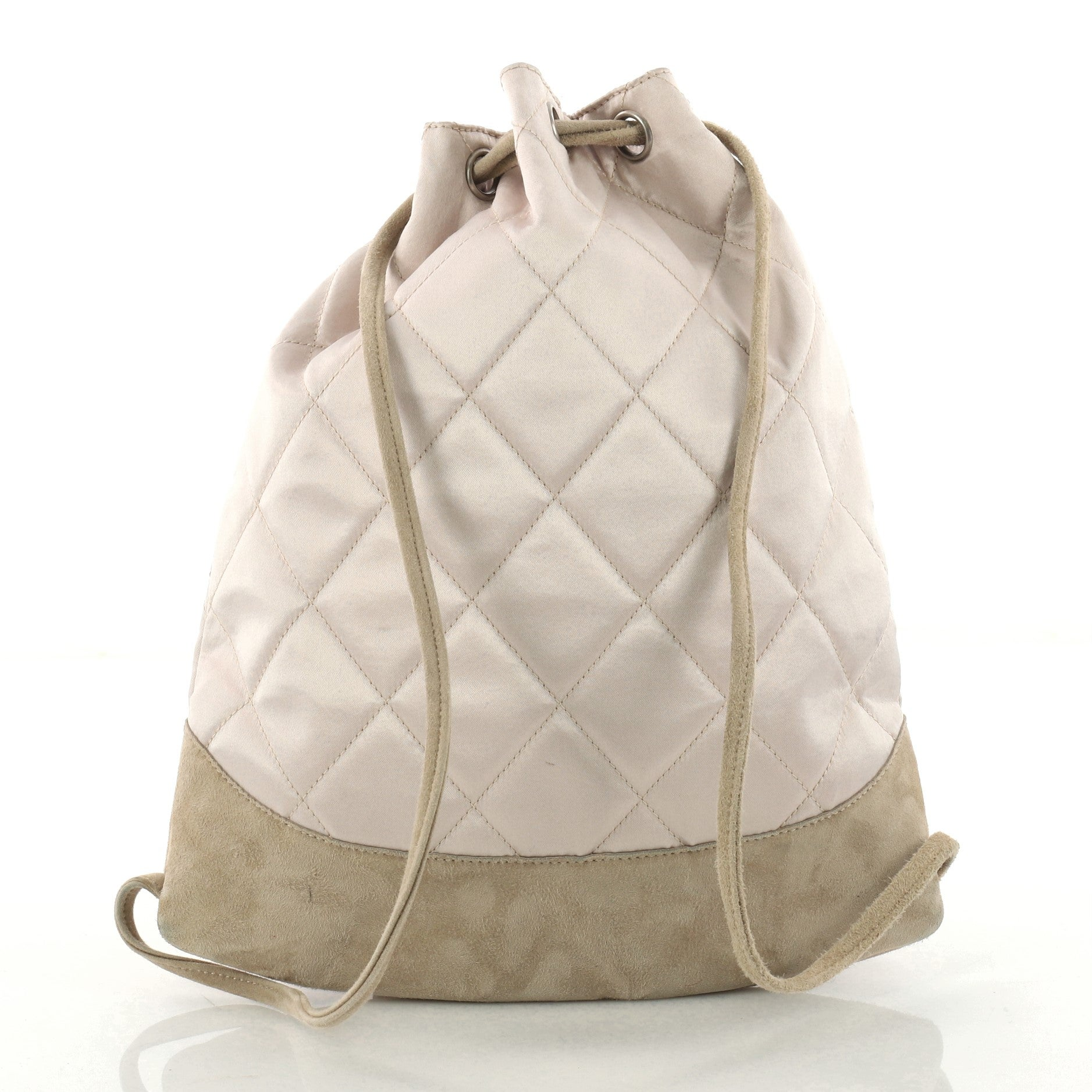 5cddfc0e4de081 Chanel Vintage Drawstring Backpack Quilted Satin with Suede Medium at  1stdibs