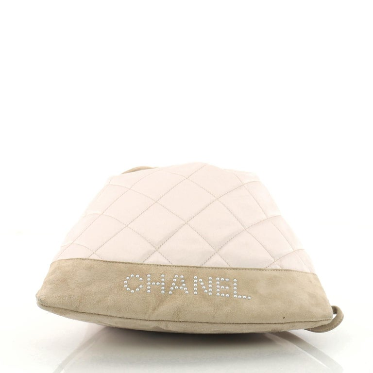 4a9f6706ad14a2 Chanel Vintage Drawstring Backpack Quilted Satin with Suede Medium For Sale  1