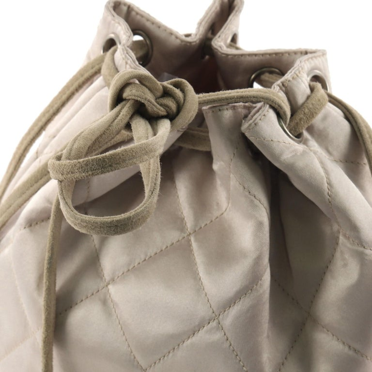 2d21c447f9a117 Chanel Vintage Drawstring Backpack Quilted Satin with Suede Medium For Sale  3