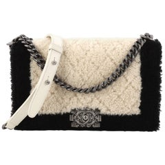 Chanel Boy Flap Bag Shearling New Medium