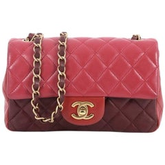 Chanel Tricolor Classic Single Flap Bag Quilted Lambskin Mini