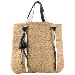 Celine Basket Tote Straw with Leather XL