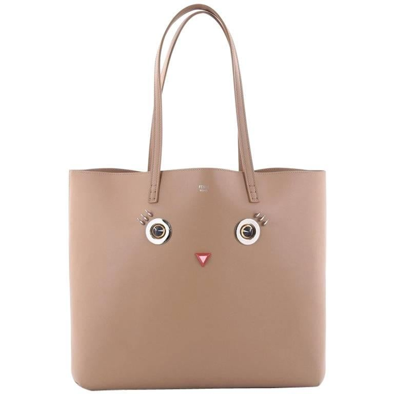 Fendi Faces Roll Tote Embellished Leather Large For Sale