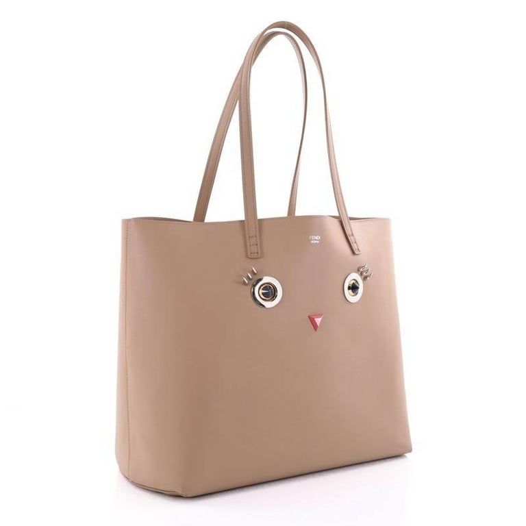 Brown Fendi Faces Roll Tote Embellished Leather Large For Sale