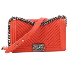 Chanel Boy Flap Bag Chevron Calfskin Old Medium