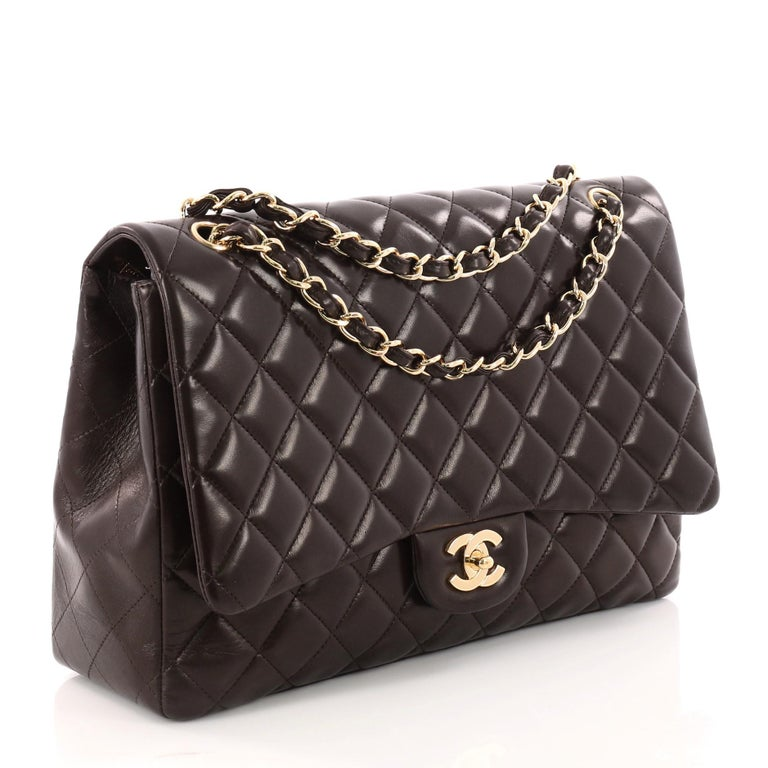 9089b10b2f974 Black Chanel Classic Double Flap Bag Quilted Lambskin Maxi For Sale