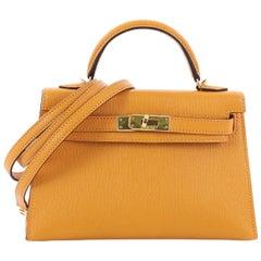Hermes Kelly Mini II Handtasche Moutarde gelb Chevre Mysore mit Golddetails 20