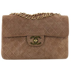 Chanel Vintage Classic Single Flap Bag Quilted Suede Maxi
