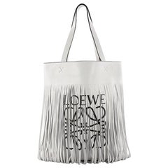 Loewe Vertical Logo Fringe Tote Printed Leather