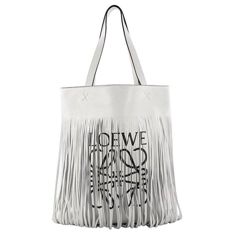 Loewe Vertical Logo Fringe Tote Printed Leather