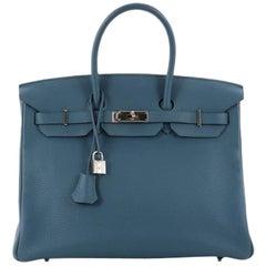 Hermes Birkin Handbag Bleu Thalassa Togo with Palladium Hardware 35