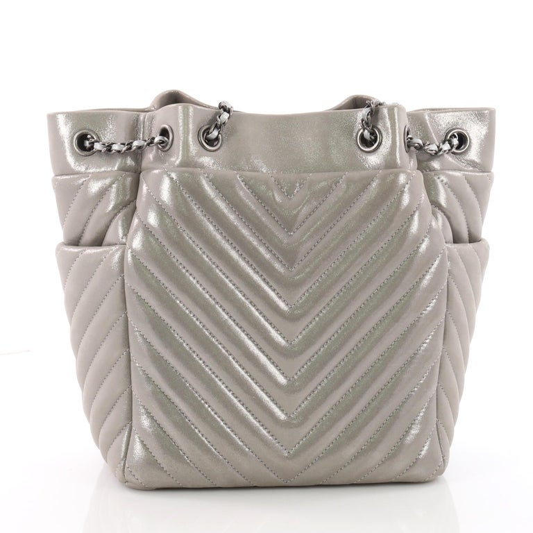 08c2d83bd30c Chanel Urban Spirit Drawstring Bag Iridescent Chevron Calfskin Small In Good  Condition For Sale In New