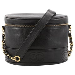 Chanel Vintage Logo Crossbody Bag Caviar Small